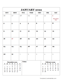 2022 Printable Calendar with UAE Holidays