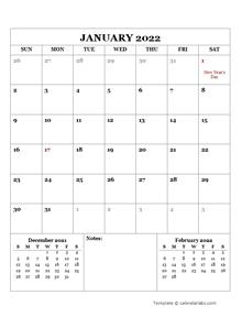2022 Printable Calendar with UK Holidays