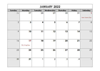 2022 Printable Holidays Calendar Mac