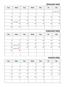 2022 Three Month Calendar Template
