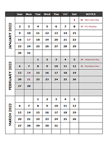 2022 Quarterly Calendar Template