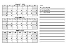 2022 Quarterly Calendar PDF