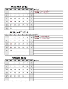 2022 Quarterly Calendar With Holidays