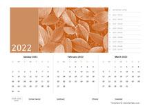 2022 Quarterly Photo Calendar Word Template