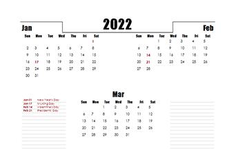 2022 Quarterly Three Month Calendar