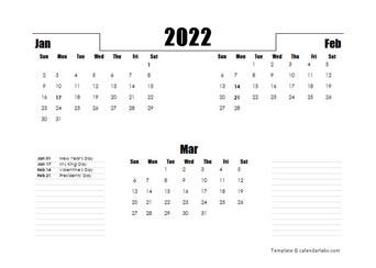 2022 Three Months Word Calendar Template