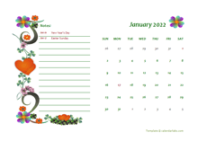 2022 UAE Calendar Free Printable Template