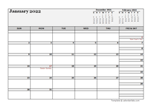 2022 UK Calendar For Vacation Tracking