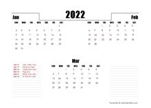2022 UK Quarterly Planner Template