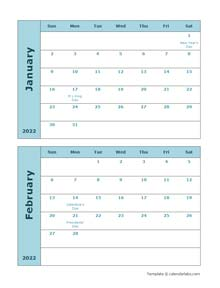 2022 Word Calendar Two Months Per Page