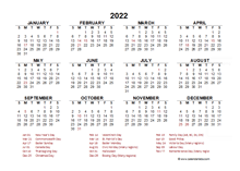 2022 Year at a Glance Calendar with Thailand Holidays