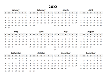 2022 Yearly Blank Calendar Template