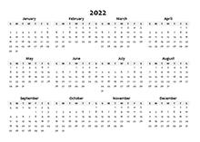 2022 yearly blank calendar template