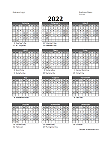 2022 Yearly Business Calendar With Week Number