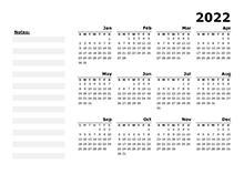 2022 Yearly Calendar Blank Minimal Design