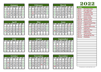 Editable 2022 Yearly Calendar Landscape