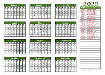 2022 yearly calendar landscape