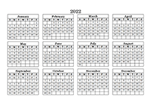 2022 yearly blank pdf calendar