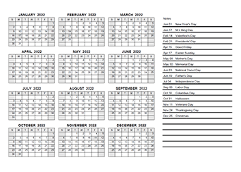 2022 Yearly Calendar PDF
