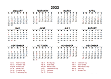 2022 Yearly Calendar Template Excel