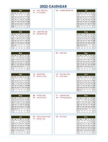 2022 calendar template vertical