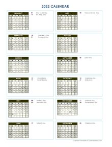 2022 Full Year Calendar Vertical Template