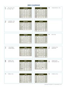2022 Annual Calendar Vertical Template