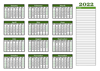 2022 Yearly Calendar With Blank Notes