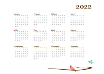 2022 Yearly Editable Word Calendar Template
