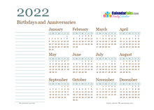 2022 Yearly Family Calendar