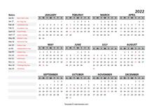 2022 Yearly Google Docs Calendar Template