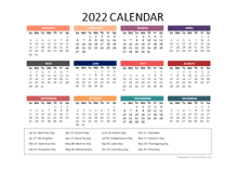 2022 Yearly Powerpoint Calendar Slide