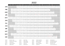 2022 Yearly Project Timeline Calendar Australia