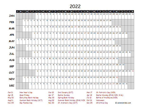 2022 Yearly Project Timeline Calendar Ireland