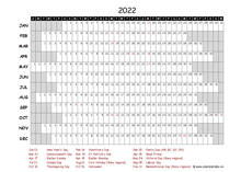 2022 Yearly Project Timeline Calendar UK