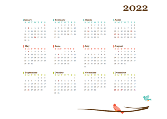 2022 Yearly Singapore Calendar Design Template
