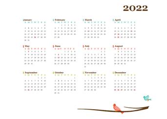 2022 Yearly Thailand Calendar Design Template