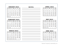 6 Months Per Page Calendar Template 2022