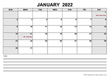 Blank January 2022 Calendar PDF