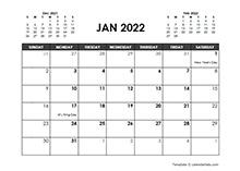 December 2022 Calendar Free Printable