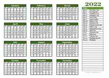 Free Editable 2022 Yearly Word Calendar