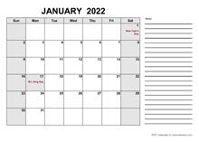 Free Printable January 2022 Calendar PDF
