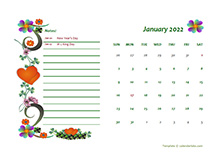 January 2022 Calendar Dates