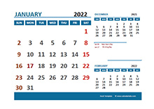 January 2022 Excel Calendar with Holidays