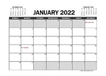 January 2022 Calendar Excel