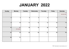 January 2022 PDF Calendar