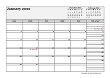 January 2022 Calendar Word