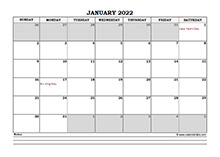 January 2022 Planner Excel