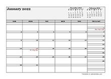 March 2022 Calendar Word
