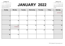 Printable January 2022 Calendar PDF
